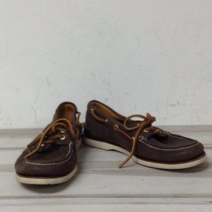 Sperry Brown Leather Slip On Boat Shoes 8
